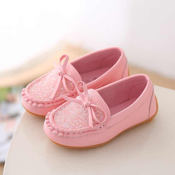 Crystal Girls flat shoes Children Casual bowknot princess shoes Kids Girls Shoes yellow white pink