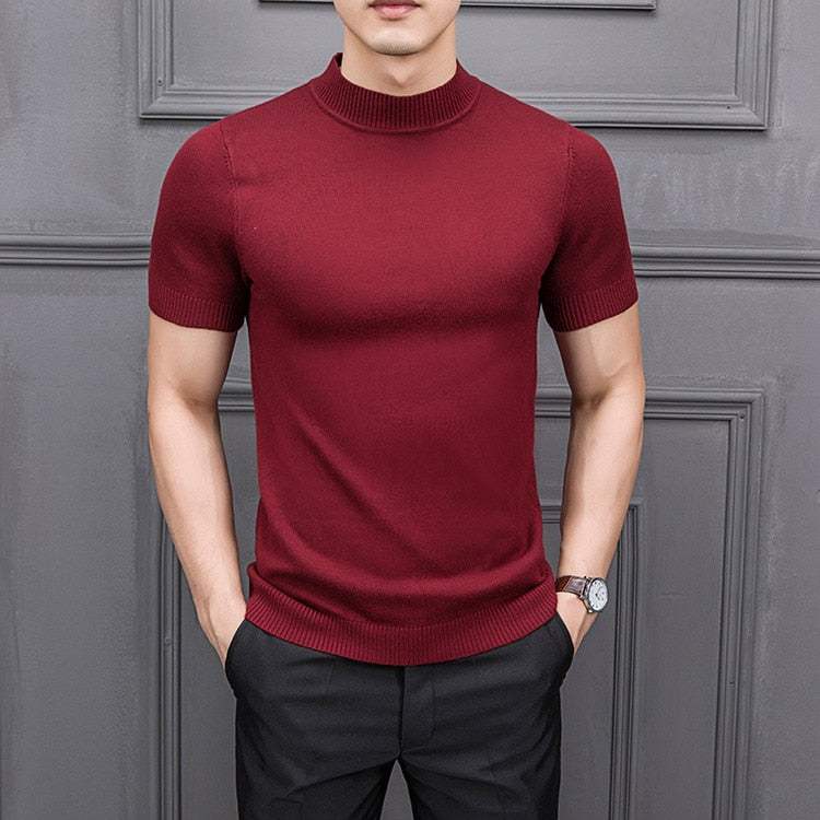 New Autumn Men's Sweater Pure Color Semi-high Collar Knitting for Male Half-sleeved Sweaters Tops