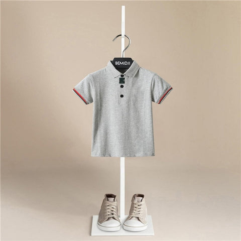 Summer New Children Kids T Shirts Short Sleeve Summer School Big Boys Girls Clothes  Cotton Lapel Button Tops Casual