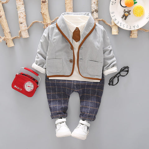3PCS Toddler Tie Formal Clothes Set Baby Boy Outfit Suit Spring Autumn Cotton Children Outerwear Kids Clothing Suit Outfit 1-4Y