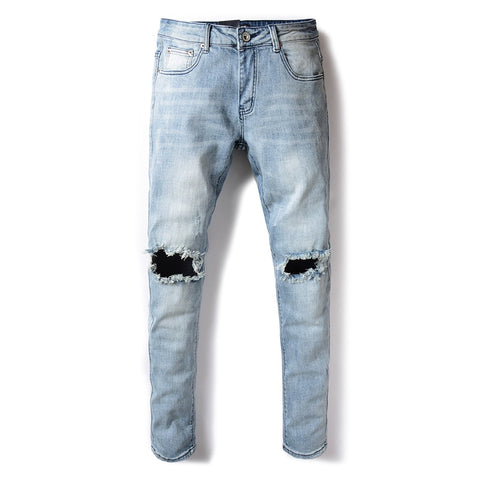 Aermican Streetwear Men Jeans Light Blue Color Slim Fit Elastic Ripped Jeans homme Knee Frayed Hole Hip Hop Jeans Men