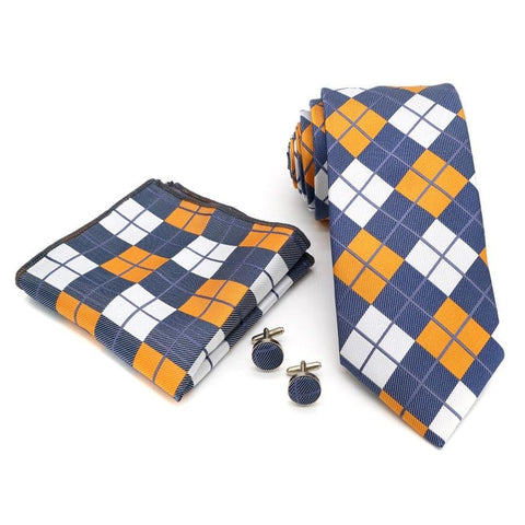 20 Colors Men's Neck Ties 8CM 100% Silk Tie Handkerchief Cufflink Set Stripe Solid Plaid Necktie Pocket Square Men Wedding Party