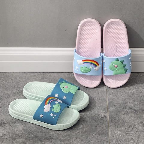 Summer Kids Slippers Soft Non-slip Boys Girls Beach Swimming Shoes Children Flip Flops Rainbow Dinosaur Indoor Slippers