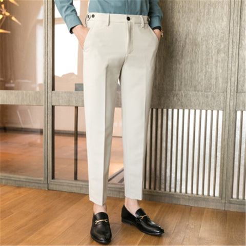 Dress Pants Men Social Slim Fit Office Trousers for Men Perfume Ankle Length Black Spring