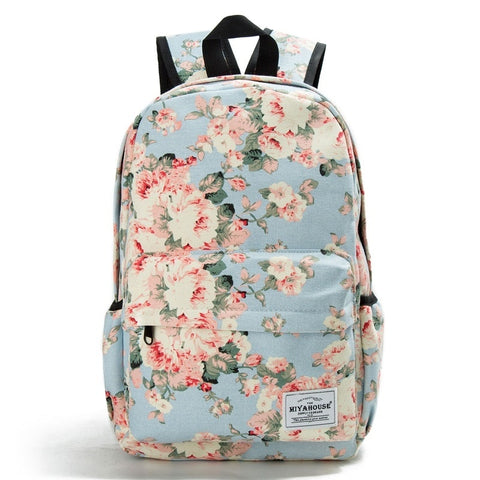 Floral Backpack Women Canvas Travel Mochila School Bag For Teenager Girls Fresh Style Rucksack