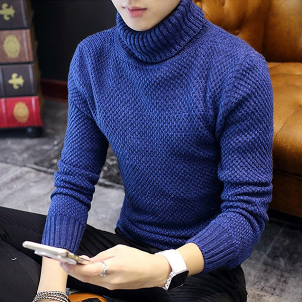 2016 Winter Mens Turtleneck Sweaters Pullovers Clothing Warm Thick Men Cotton Knitted Sweater Male Sweaters Pull Homme XXXL 50