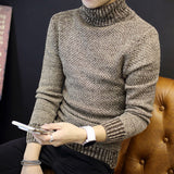 Winter Mens Turtleneck Sweaters Pullovers Clothing Warm Thick Men Cotton Knitted Sweater Male Sweaters Pull Homme XXXL 50