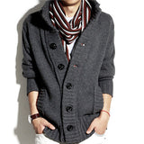 Fashion Collar Warm Big Lapel Thick Knitted Men Jacket Long Sleeved Sweater Single-Breasted Coat Cardigan
