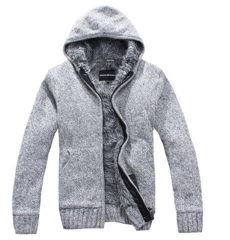new Men's Fashion winter Knitted jacket Coat Cotton Hooded thick white cardigan sweater Sweaters men XXL,XXXL W 136