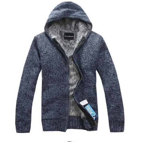 Hot 2017 new Men's Fashion winter Knitted jacket Coat Cotton Hooded thick white cardigan sweater Sweaters men XXL,XXXL W 136
