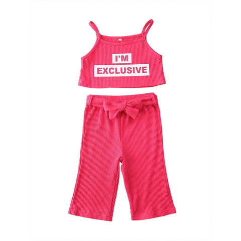 Summer 18M-6T Toddler Kids Children Girl Clothes Set Rose Red Sleeveless Letter Crop Top Pants Clothing Casual Outfits