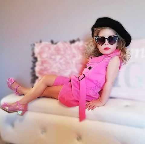 Toddler Infant Baby Girl Dress Summer Sleeveless Pink Lace up V-neck Buttons Jumpsuit Casual Dresses Cute Clothing
