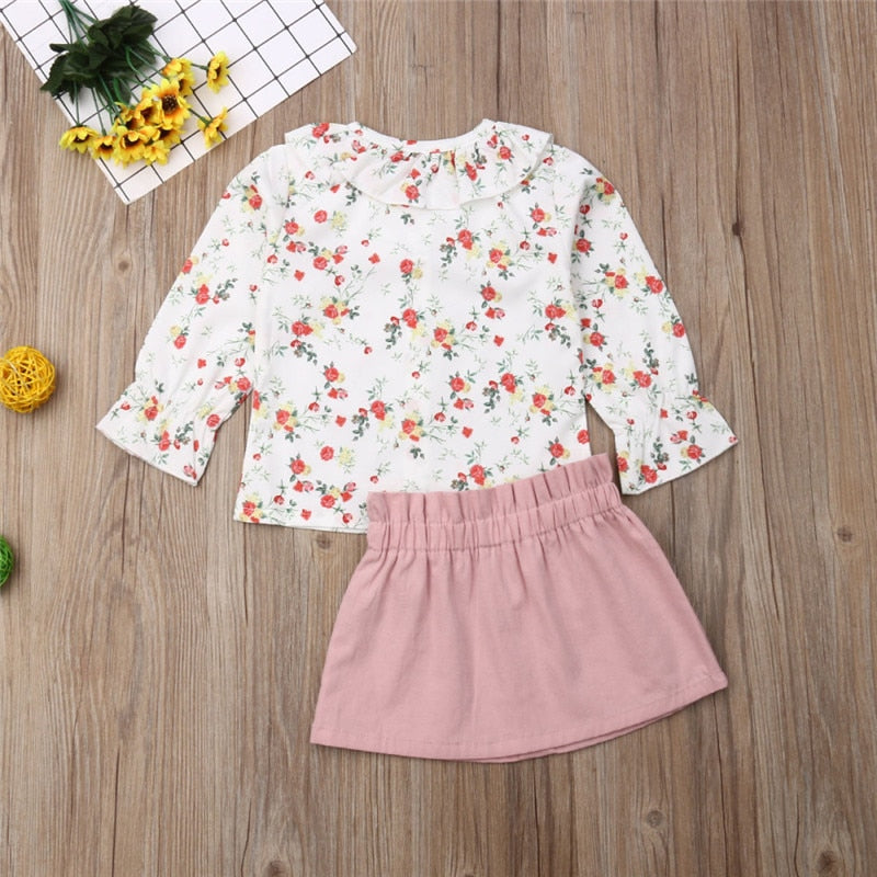casual 2PCS Toddler Baby clothing sets Girl Autumn Clothes ruffles Floral Tops Blouses and flower Skirts Outfits