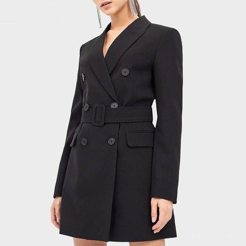 Spring Autumn Black Long Blazer Jacket Women Sashes Solid Suit Coat Female Outwear Office Lady Blazers