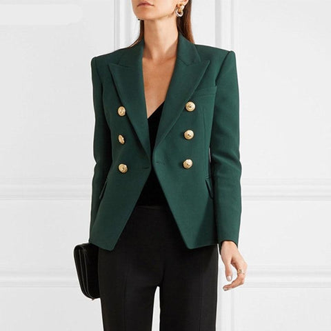 Newest jacket woman spring autumn office women Blazer Metal Buttons Double Breasted jacket ladies blazer Outer