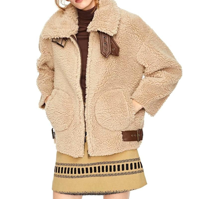 Autumn Winter Thick Warm Lamb Fur Jacket Coat Female Zipper Leather Patchwork Casual Teddy Overcoat Women Tops