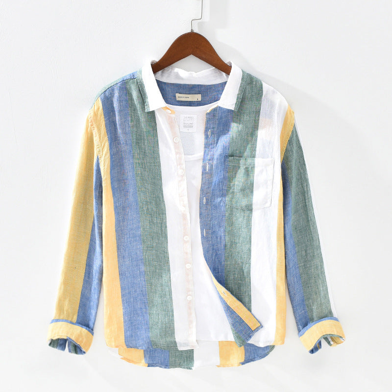 Men Spring Style 100% Pure Linen High Quality Colorful Stripe Dyed Long Sleeve Shirt Male Minimalism Leisure Shirt