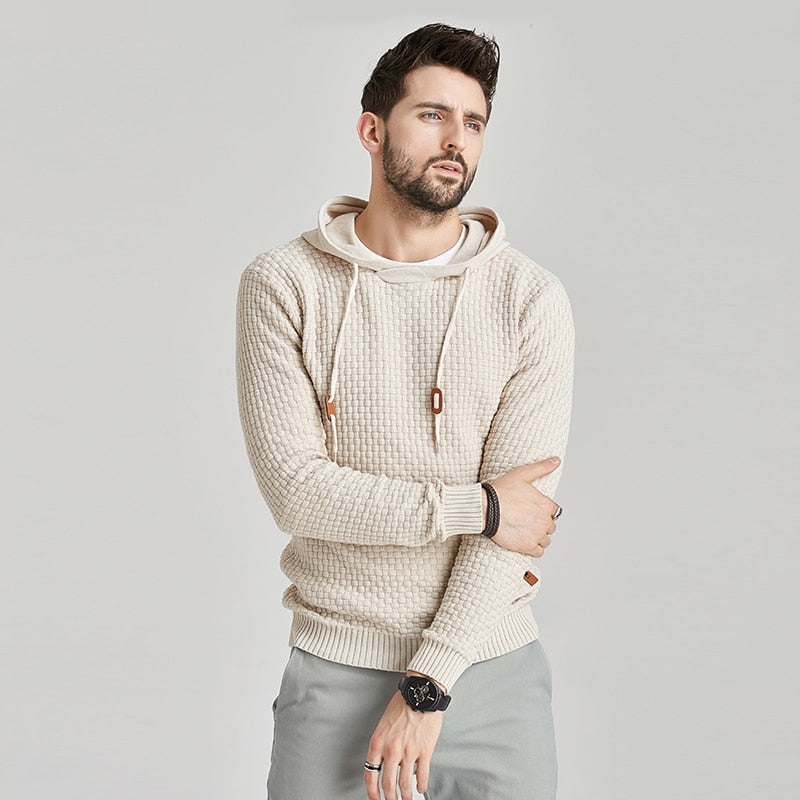 Men Spring Brand New Casual Cotton Warm Hooded Sweaters Pullover Men Autumn Fashion Hat Solid Color Sweater Men 3XL