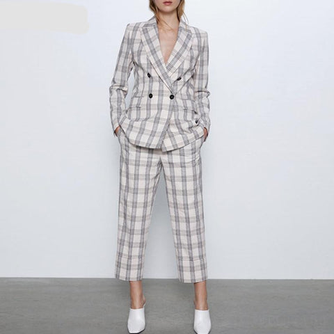 Spring Autumn Vintage Plaid Two Piece Women Double Breasted Blazer Jacket Coat+Elastic Pants Suit Office Female Trousers