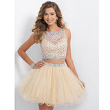 Sheer Light Champagne Tulle Prom Dresses Short Length Scoop Beaded Rhinestones Backless 2 Pieces Prom Dress Party Gowns