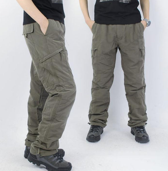 Winter New Thicken Men Pants with plush Straight More than a pocket Warm Pants Man Keep Trousers overalls pantalones broek