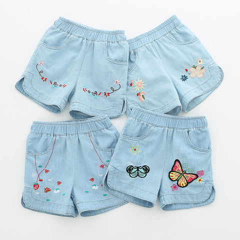 Casual 2 3 4 6 8 10 12Years Children Embroidery Flower Cotton Pocket Denim Blue Shorts For Small Baby Kids Girls