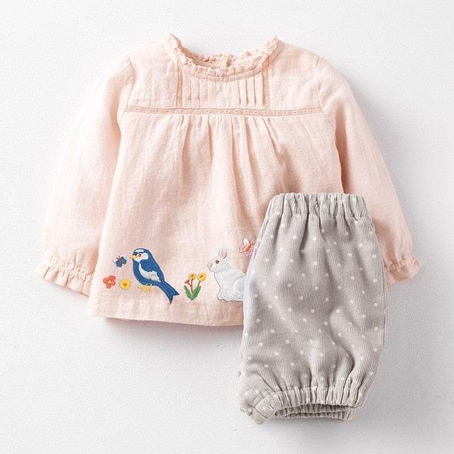 Autumn Spanish Style Brand Children's Clothing New Children's Wear Suit Cartoon Long-sleeved Girl Suit Toddler Girl Clothes