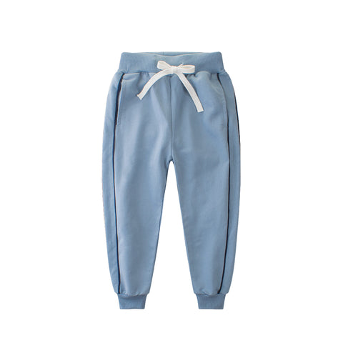 4-12Y Kids Girls Pants Autumn Boys Clothes Elastic Waist Sports Trousers 4 6 8 10 12 Years Children Cotton Clothing Blue Bottoms