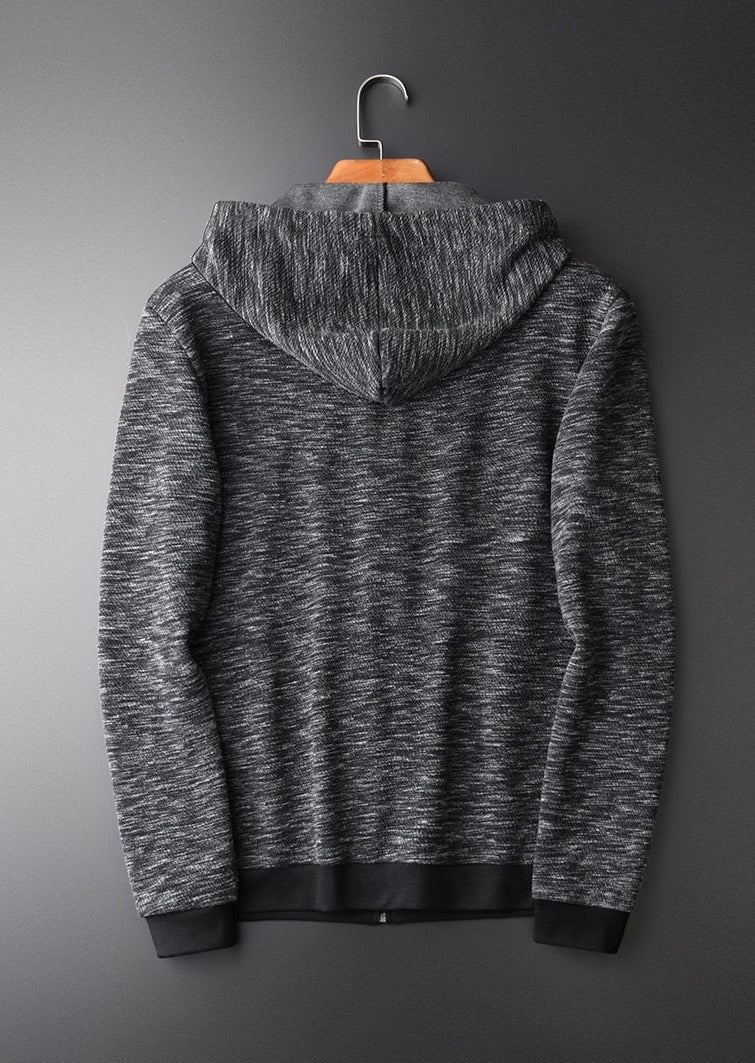 Sweatshirt Male Autumn New Yarn-dyed Zipper Hoodies Hight Quality Fashion Slim Fit Grey Hooded Sweatshirts For Men