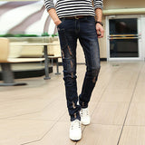 Men's jeans men's fashion casual Slim jeans feet stretch denim pants feet frayed denim pants feet Free shipping
