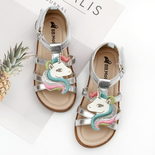 Little Girls Unicorn Sandals Summer Open-toed Beach Jelly Shoes Kids Gladiator Sandals Unicorn Slippers Infant Baby Child
