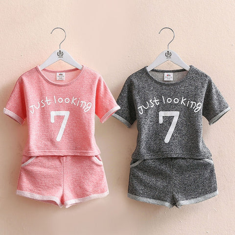Girls Clothing Set Summer 2 3 4 5 6 7 8 9 10 Years Old Kids Girl Number Letter Print Short Sleeve T Shirt+Shorts Sports Set