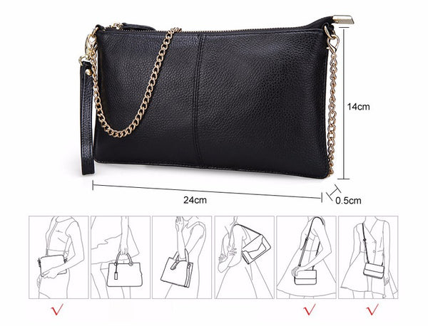 Color Genuine Leather Women's Bag Designer High Quality Clutch Fashion Women Leather Handbags Chain Shoulder Bags for women