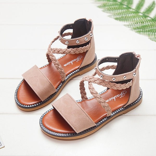 Kid Shoes Leather Girls Shoes kids Summer Baby Girls Sandals Shoes Toddlers Infant Children Kids Shoes Beige Summer
