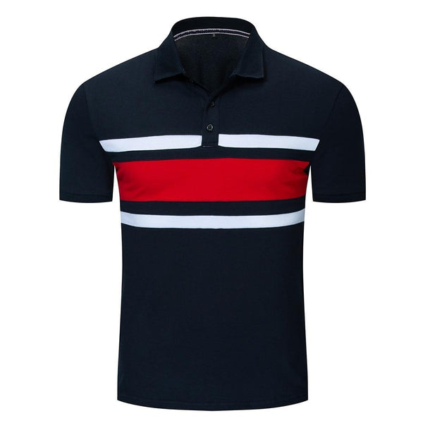 New Men Colorblock Polo Shirt 100% Cotton Patchwork Short Sleeve Polo Shirts Male Brand Clothing