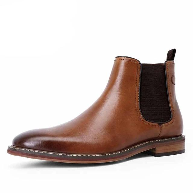 New Men's Chelsea Boots Genuine Calf Leather Bottom Outsole Calf Leather Upper Leather Inner Handmade Boot Shoes