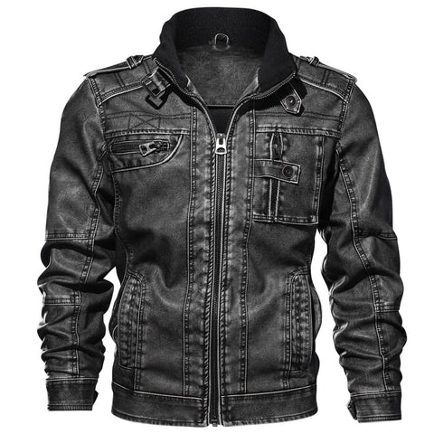 Quality Mens Jacket Leather Coat Autumn Slim Fit Faux Leather Motorcycle Jackets Male Coats Brand Clothing