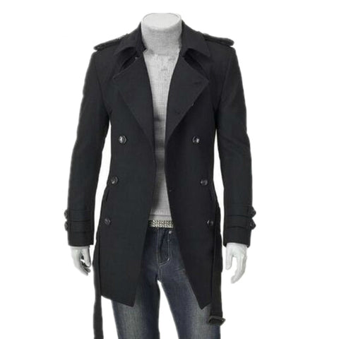 ainr Womens Autumn Waterproof Double-Breasted Thicken Warm Long Trench Coat