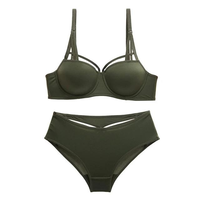 New Hot Sexy Underwear Set Green Cotton Brassiere Push up Bra Sets 3/4 Cup Black Women Lingerie Set Lace Bras Deep V Gather
