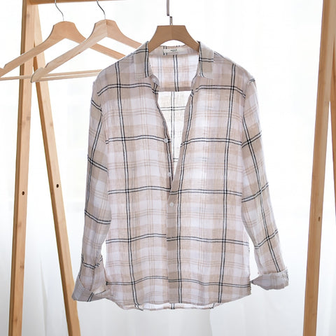 New design 100% linen plaid shirt men brand summer and spring shirts for men comfortable long sleeve shirt mens