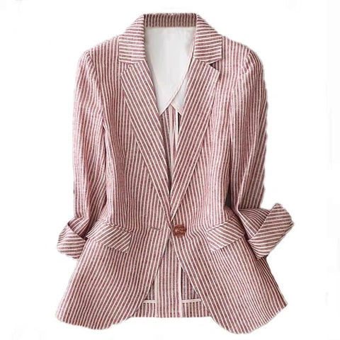 Linen suit female thin summer new striped long sleeveone button slim cotton casual  jacket