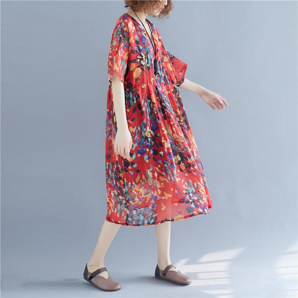 Plus Size Chiffon Boho Dress Ladies Summer 4XL 5XL 6XL Dresses for Women Bohemian Beach Floral Dress Vestidos Robe