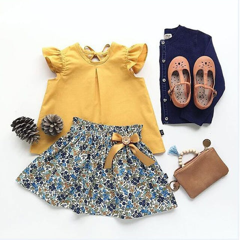 Cute Toddler Kid Girls Sleeveless Chiffon Tops Yellow Floral Tutu Skirts 2pcs Clothes Set Outfit Suit Set Summer Infant Clothing