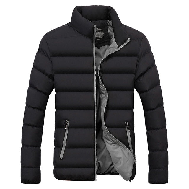 Men Parka Cotton Padded Winter Jacket Coat mens warm jacket Solid color Zipper Thick Coat Men Down Parka