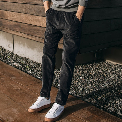 98% Cotton 2% Spandex  Men corduroy pants Male loose casual pants in autumn men's pants straight type