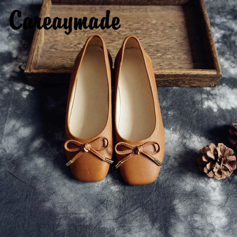 Careaymade-Spring Women's Genuine Leather Shoes,Simple but Comfortable Soft  bottom Low Heel in Her Retro Square Shoes