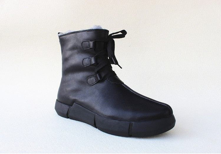 leather pure wool thick sole short boots,cowhide soft sole,high-top cotton shoes,warm men's shoes in winter