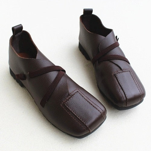 Genuine Leather Square-Toe Soft Sole Women's Shoes,Top Layer Original Casual Handmade Single Shoes