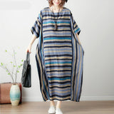 Plus Size 4XL 5XL 6XL 7XL Striped Summer Dress Women Batwing Cotton Linen Maxi Dresses Oversized Woman Long Dress Vestidos