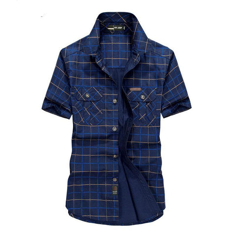 Summer Men's 100% Cotton Shirts Plaid Blue Solid Color Dress Short Sleeve Shirts Casual Man Brand CLOTHES